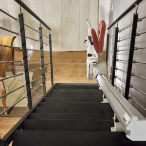 Monte escalier droit vue du haut